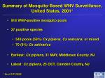 summary of mosquito based wnv surveillance united states 2001
