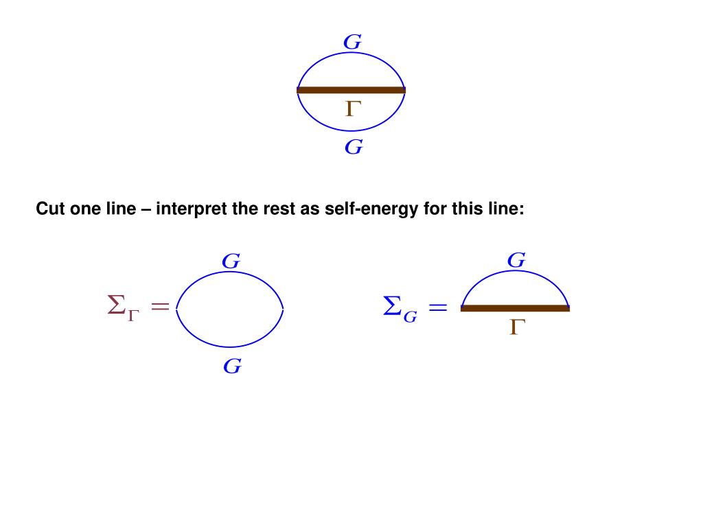 Cut one line – interpret the rest as self-energy for this line:
