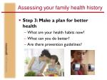 assessing your family health history38