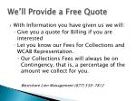 we ll provide a free quote