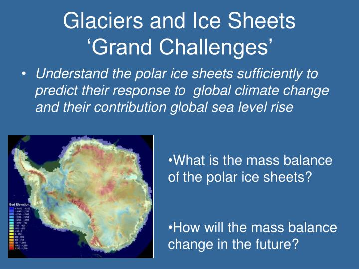 Glaciers and ice sheets grand challenges