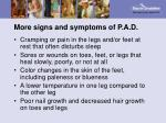 more signs and symptoms of p a d