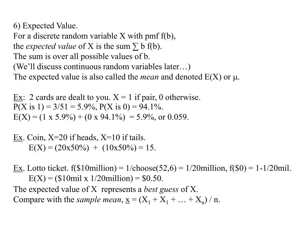 6) Expected Value.