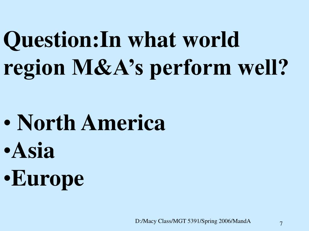 Question:In what world region M&A's perform well?
