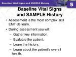 baseline vital signs and sample history