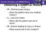 obtaining a sample history 2 of 2