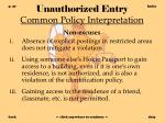 unauthorized entry common policy interpretation37
