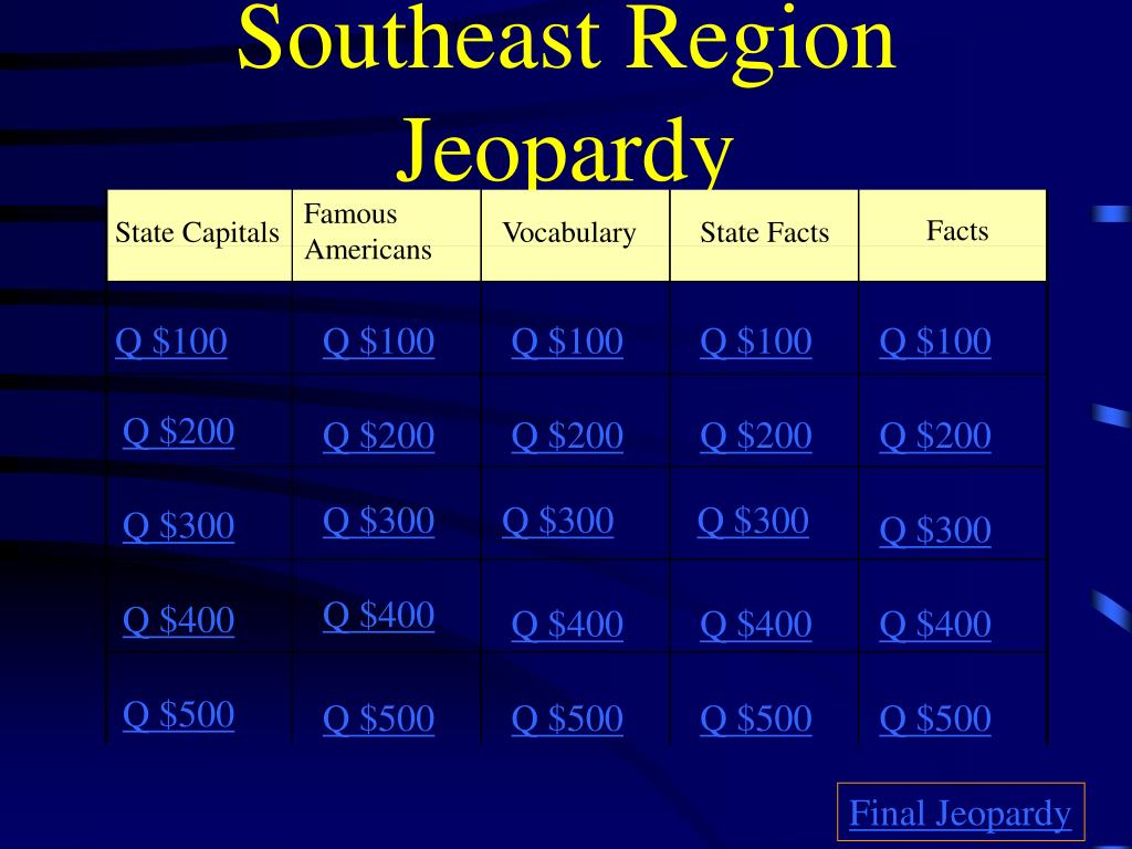 southeast region jeopardy l.