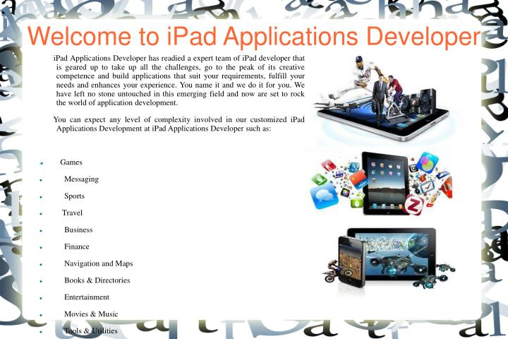 welcome to ipad applications developer n.