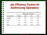 job efficiency factors for earthmoving operations