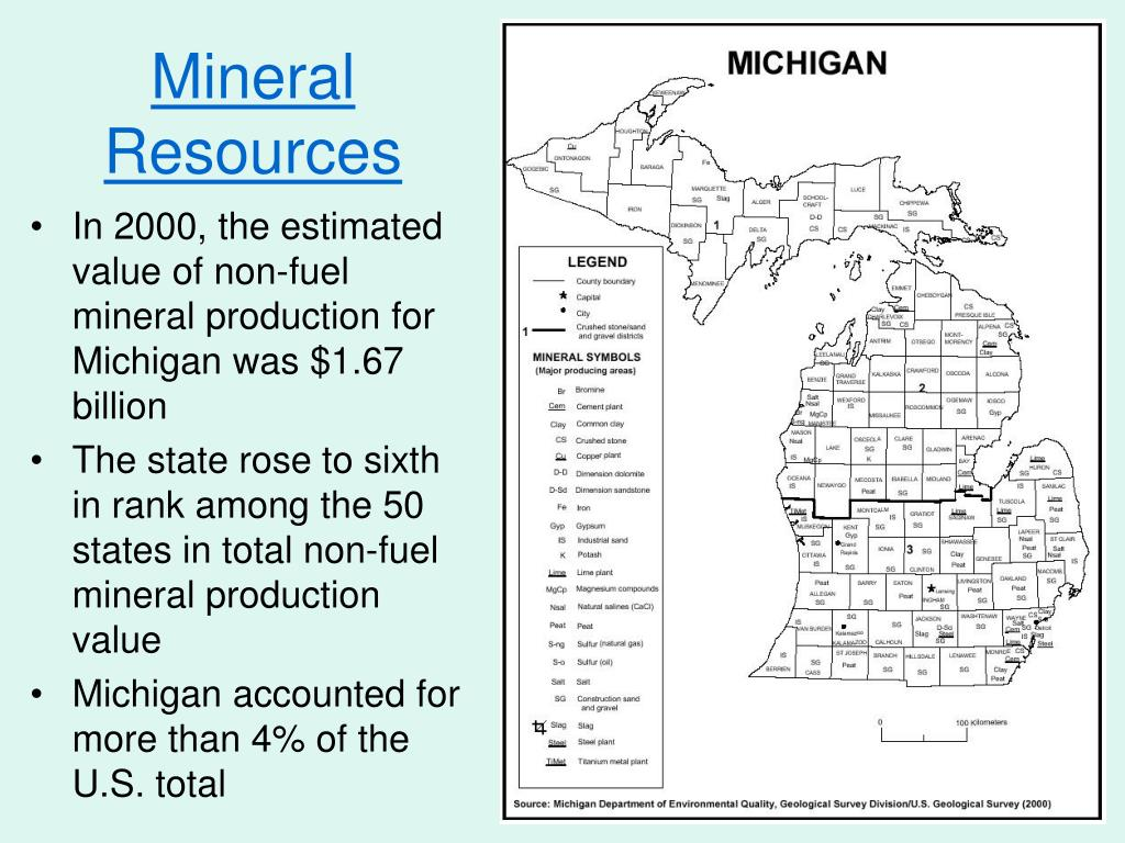 In 2000, the estimated value of non-fuel mineral production for Michigan was $1.67 billion