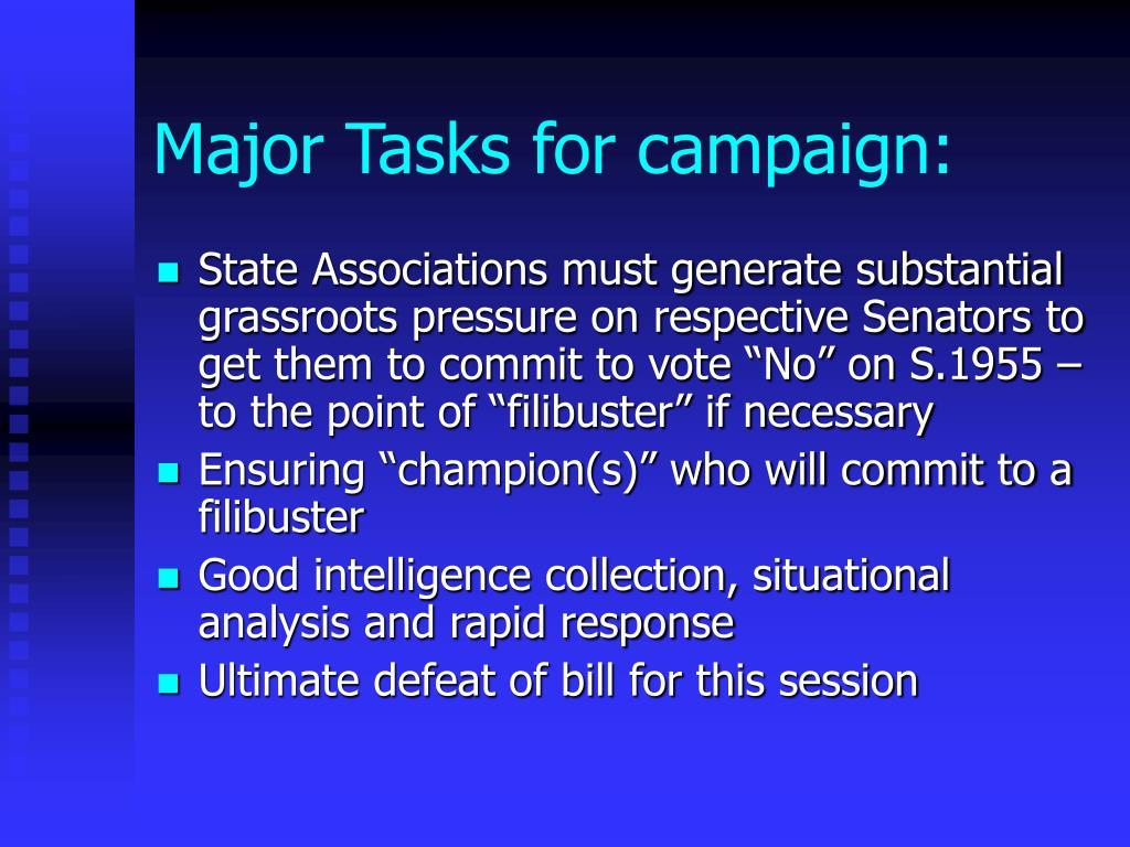 Major Tasks for campaign: