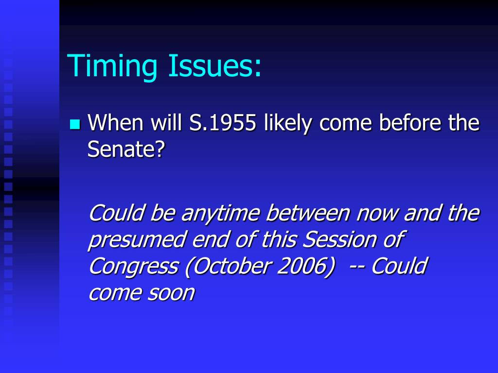 Timing Issues: