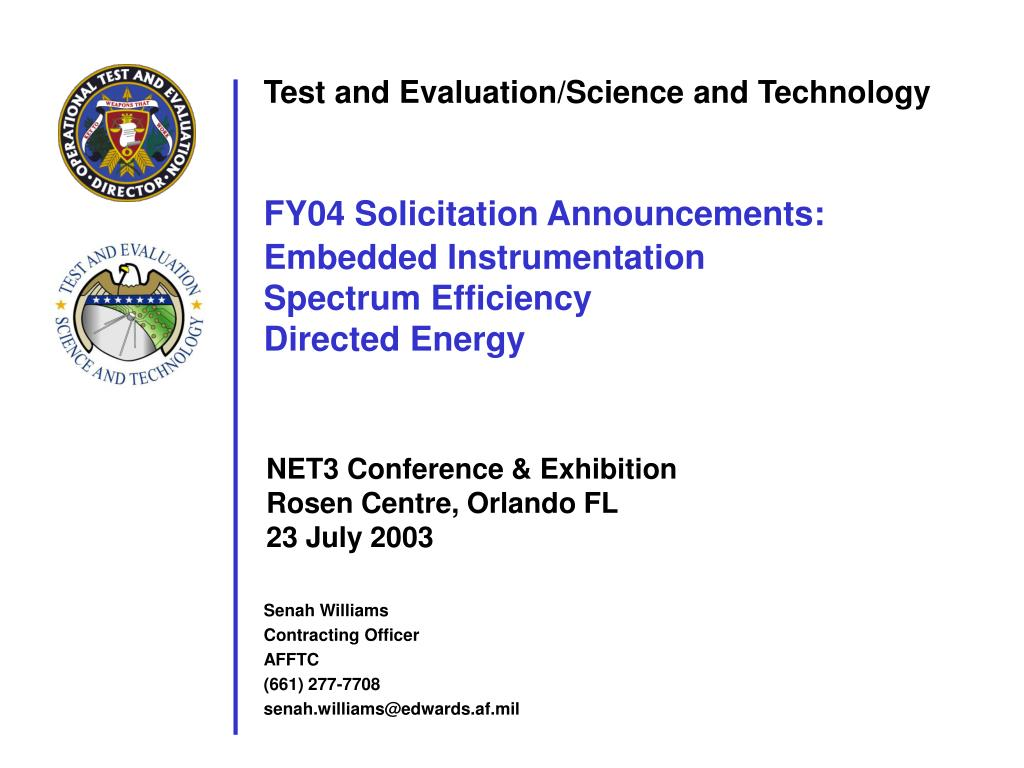 Test and Evaluation/Science and Technology