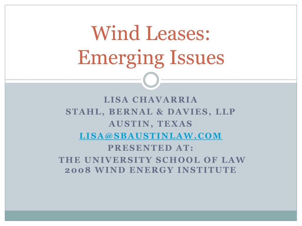 wind leases emerging issues l.