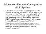 information theoretic consequences of le algorithm