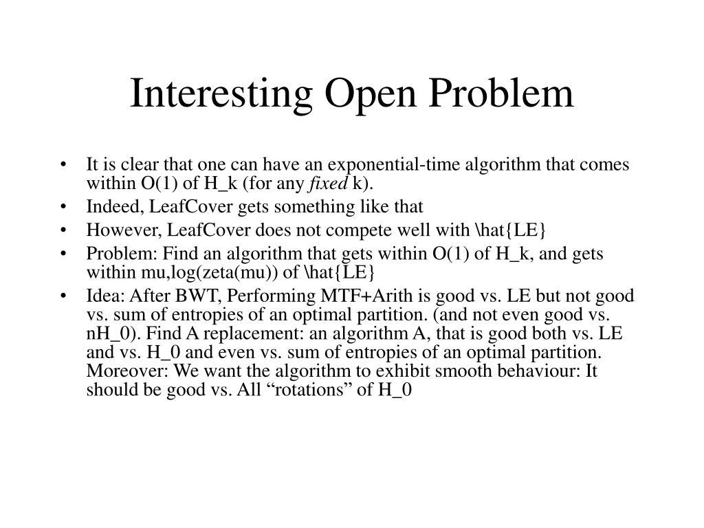 Interesting Open Problem