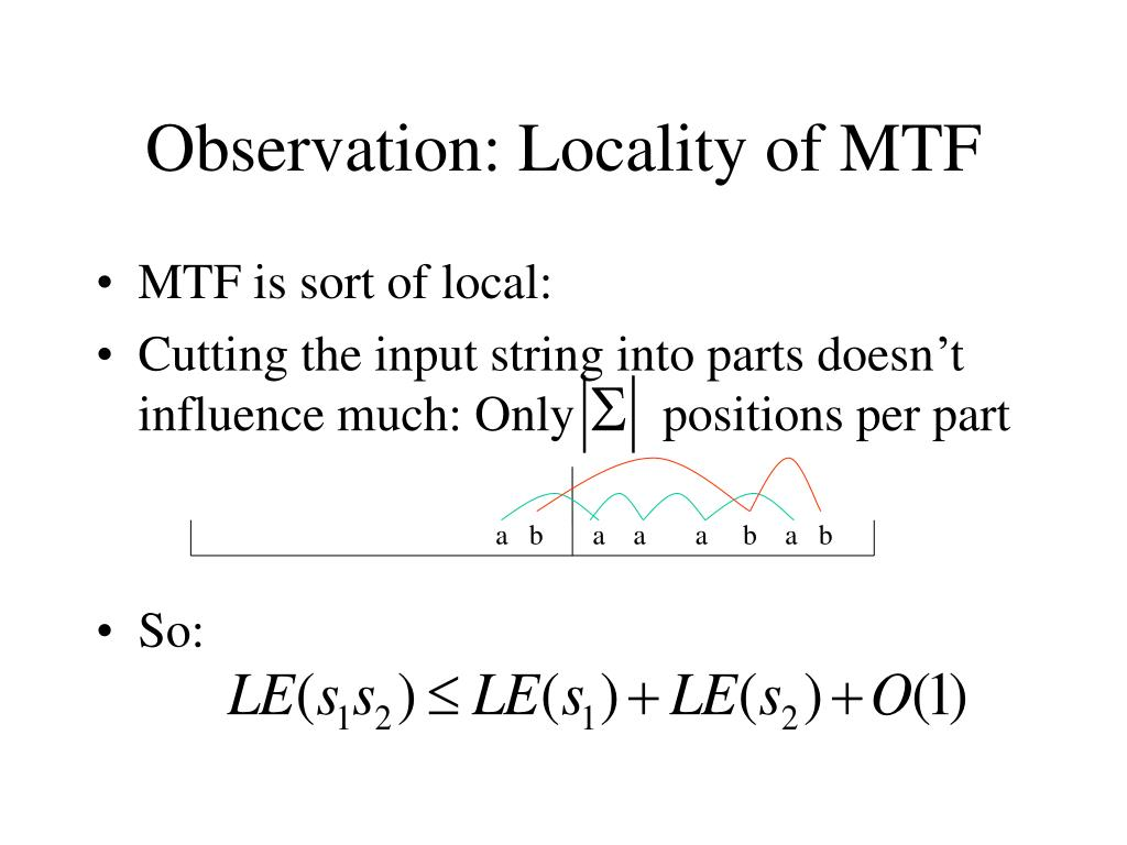 Observation: Locality of MTF