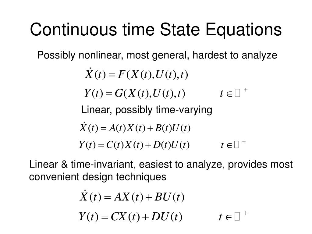 Continuous time State Equations