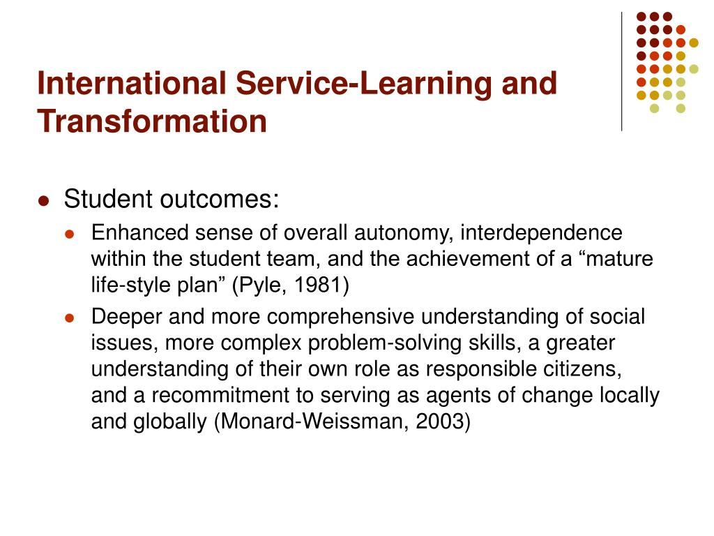 International Service-Learning and Transformation