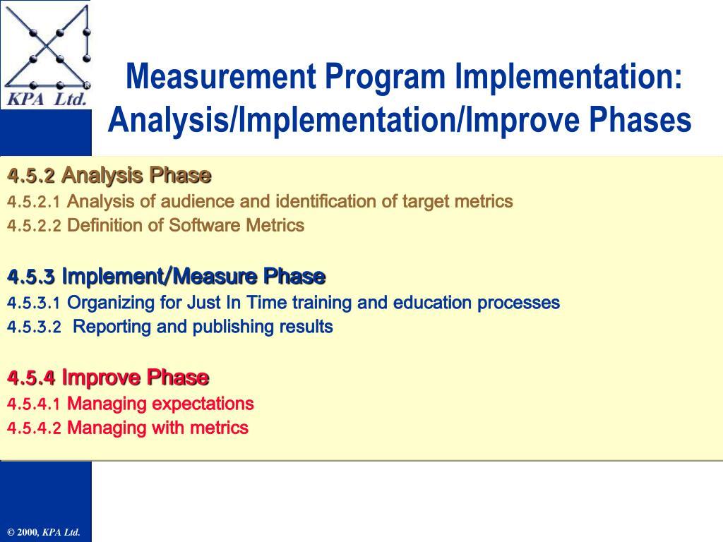Measurement Program Implementation: