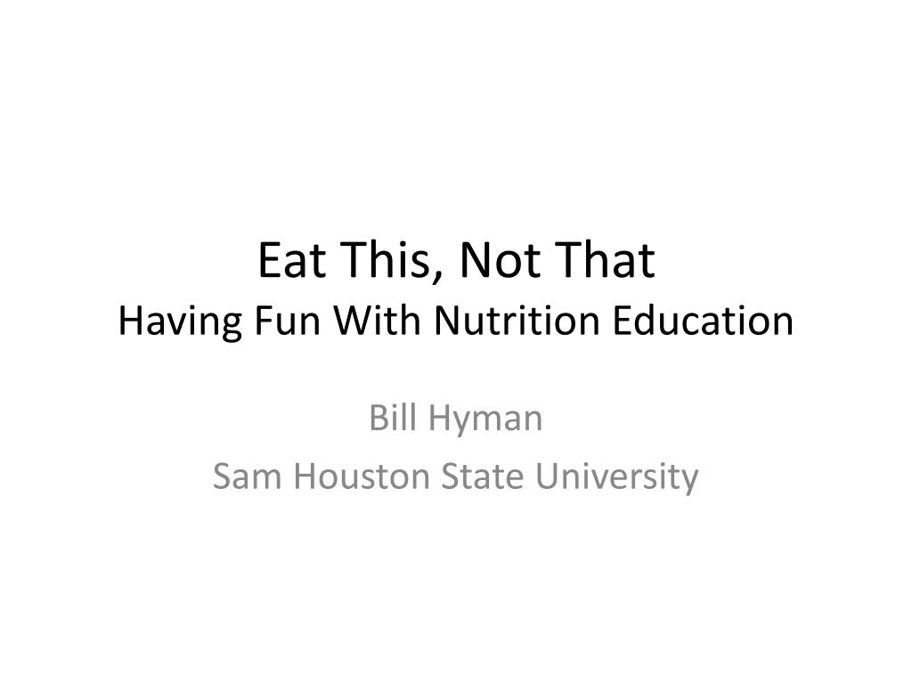 eat this not that having fun with nutrition education l.