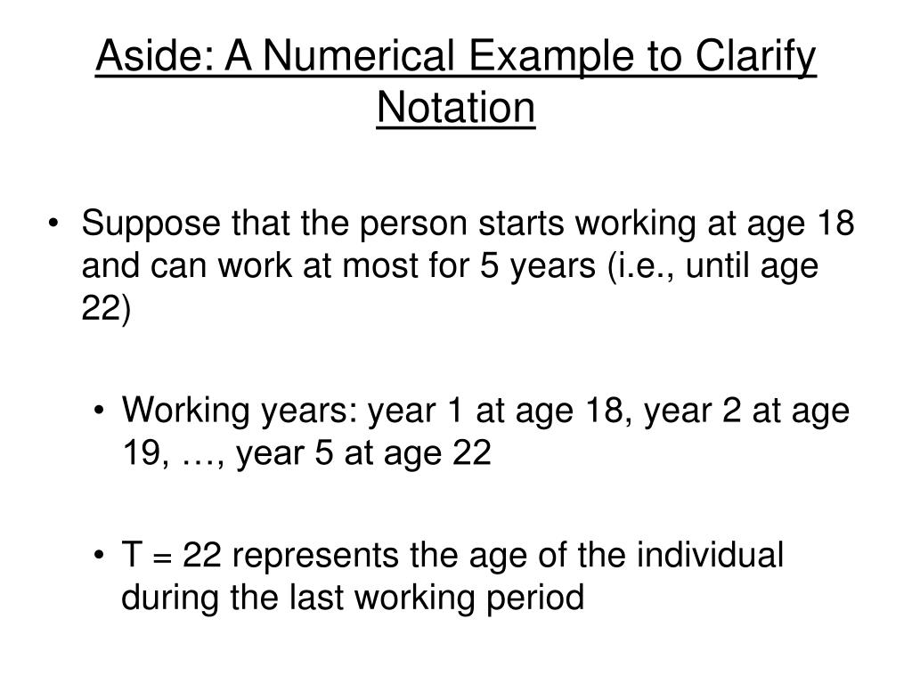 Aside: A Numerical Example to Clarify Notation