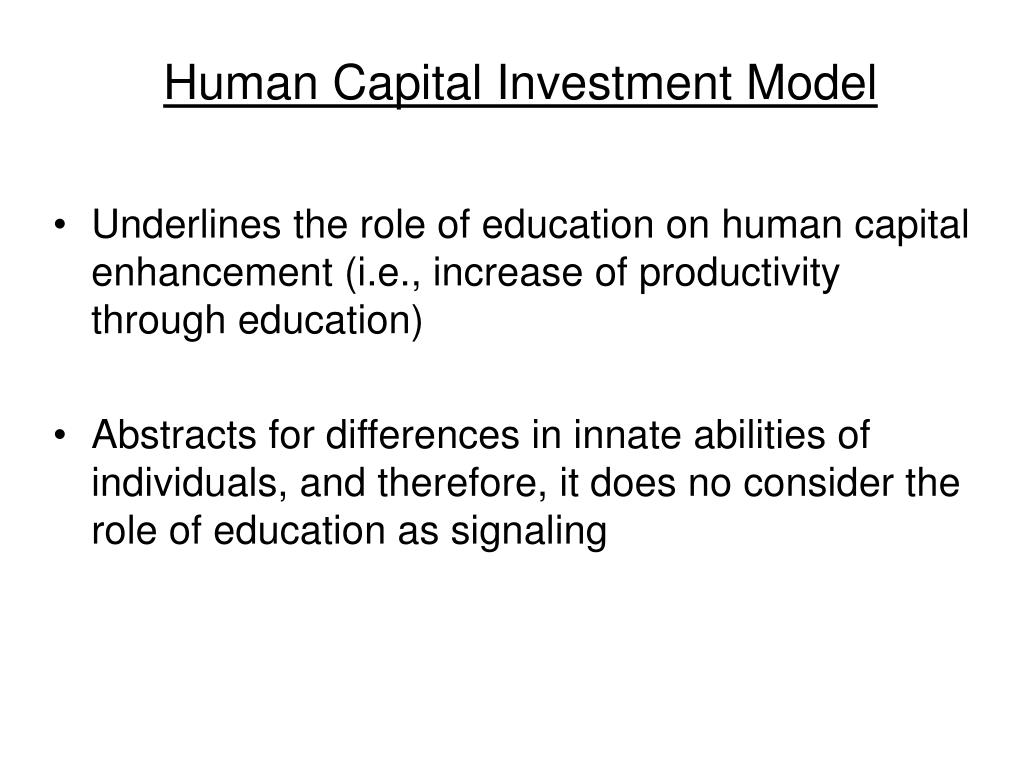 Human Capital Investment Model