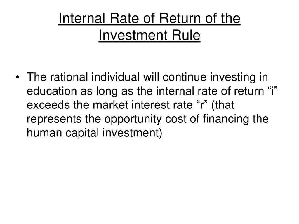Internal Rate of Return of the Investment Rule