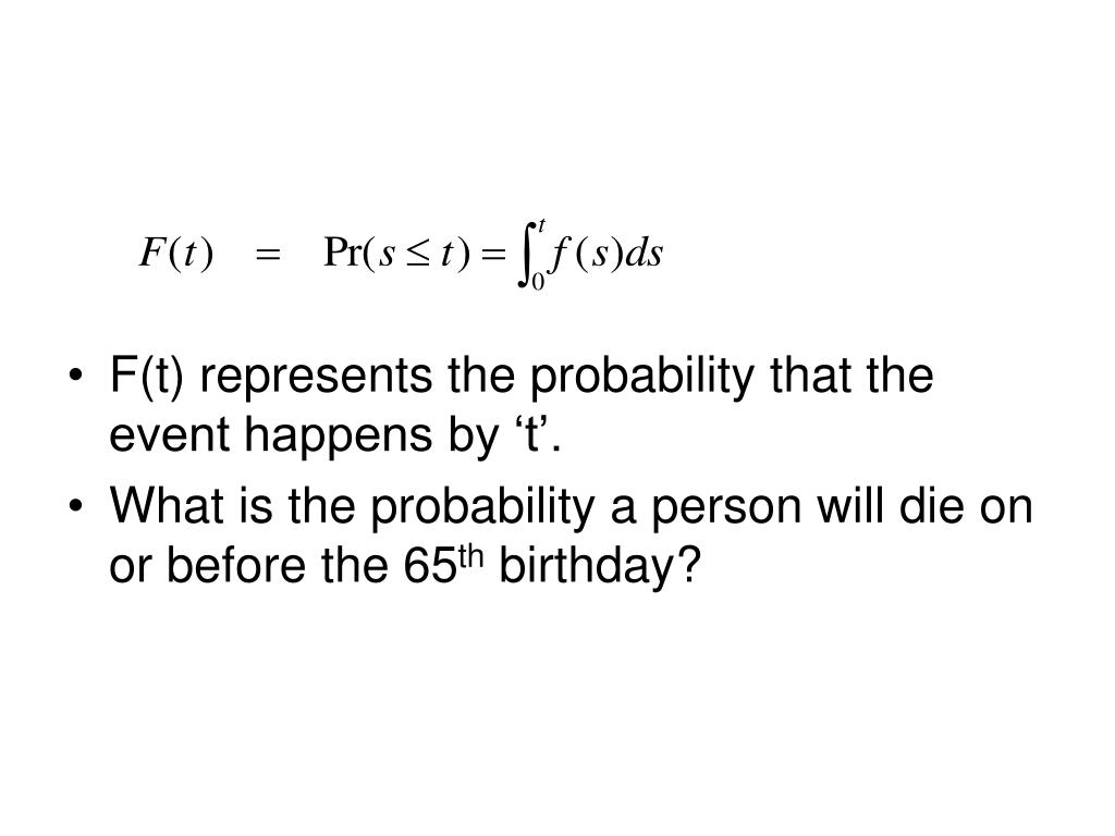 F(t) represents the probability that the event happens by 't'.