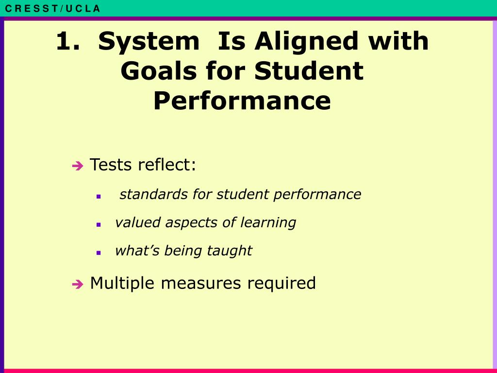 1.  System  Is Aligned with Goals for Student Performance