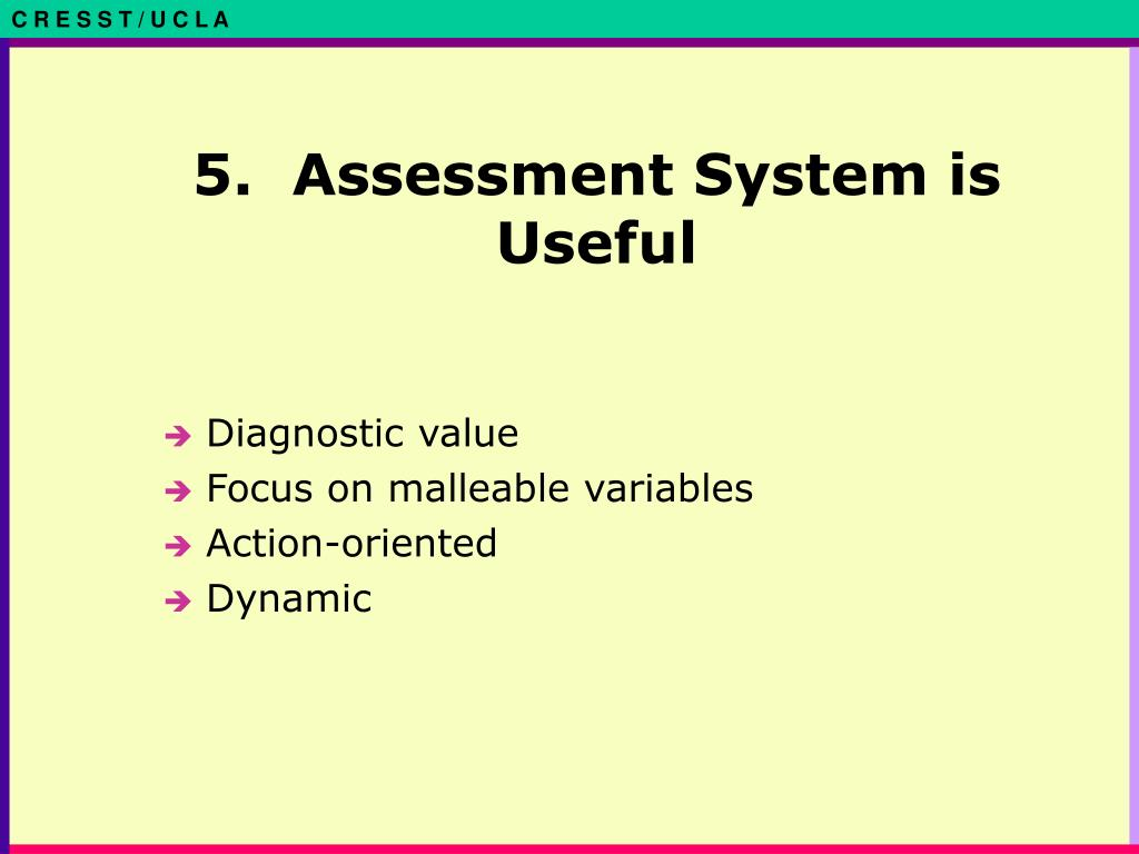 5.  Assessment System is Useful