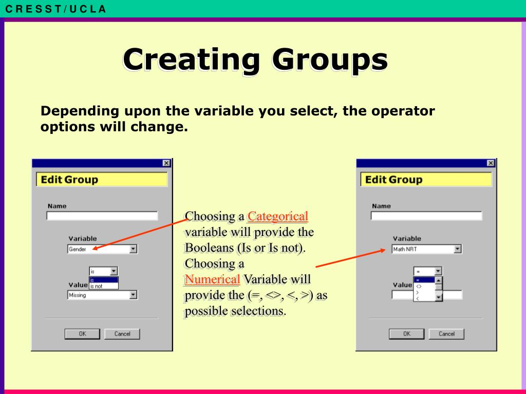 Depending upon the variable you select, the operator options will change.