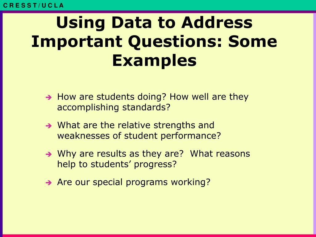 Using Data to Address Important Questions: Some Examples