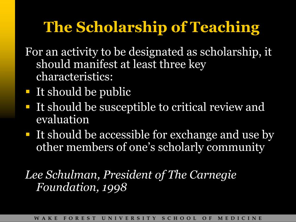 The Scholarship of Teaching