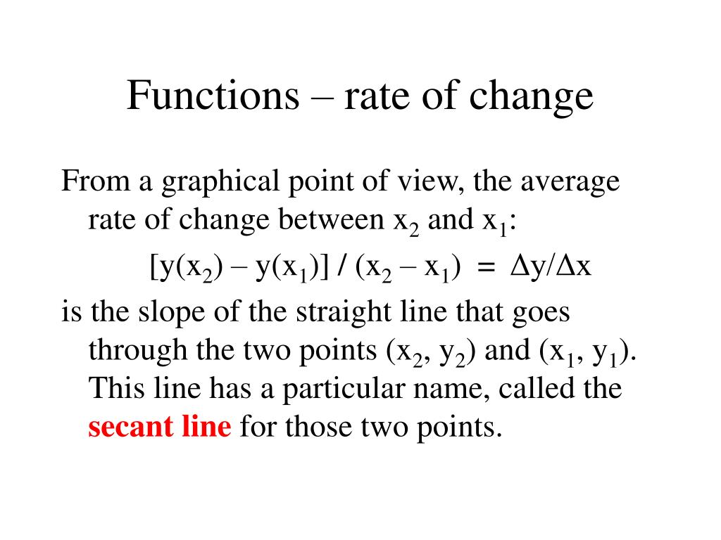 Functions – rate of change