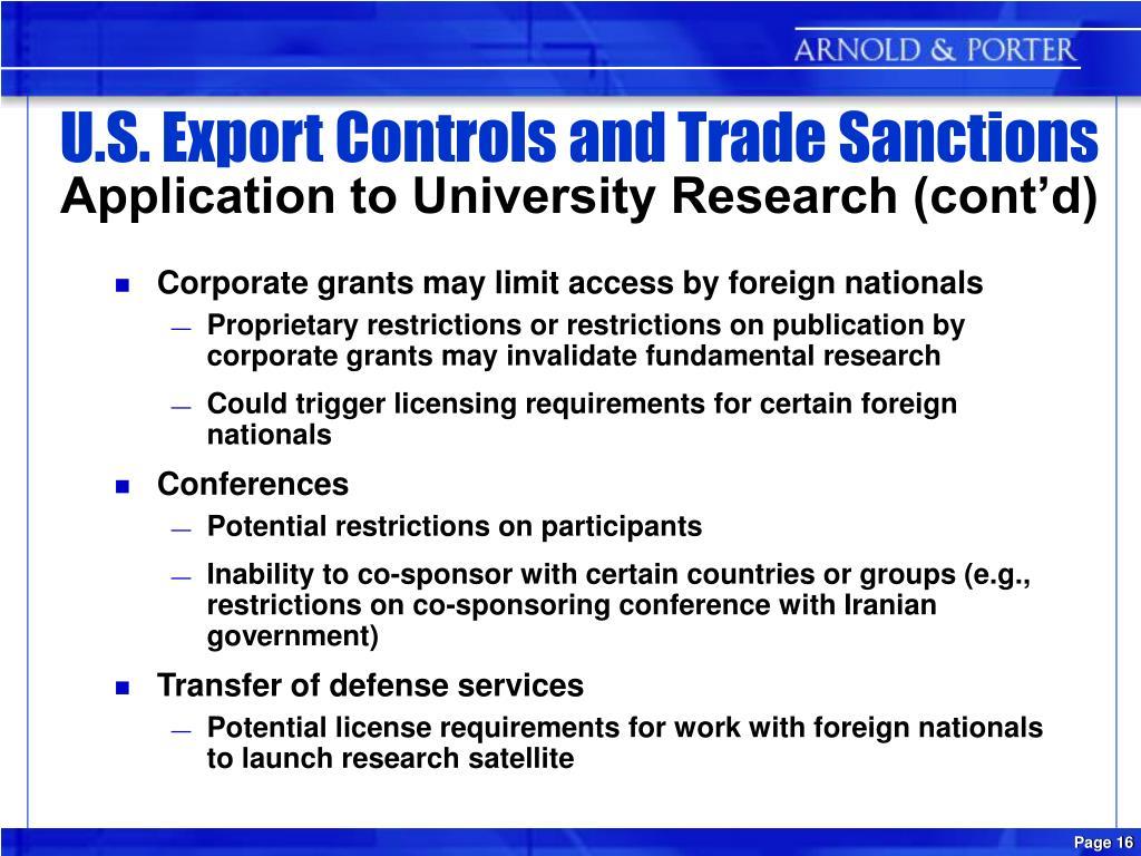 U.S. Export Controls and Trade Sanctions