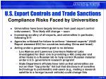 u s export controls and trade sanctions compliance risks faced by universities