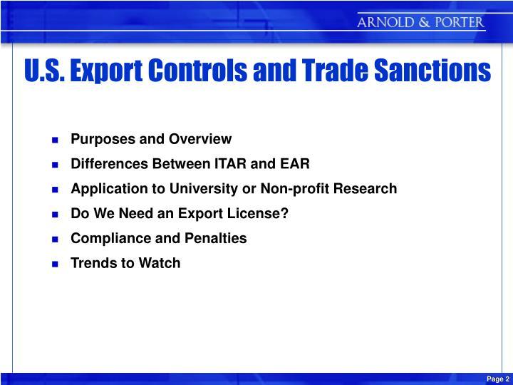 U s export controls and trade sanctions
