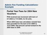 admin fee funding calculations example