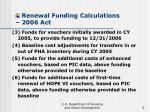 renewal funding calculations 2006 act8
