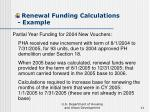 renewal funding calculations example