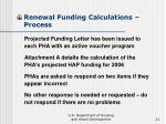 renewal funding calculations process