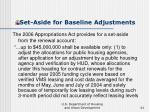 set aside for baseline adjustments