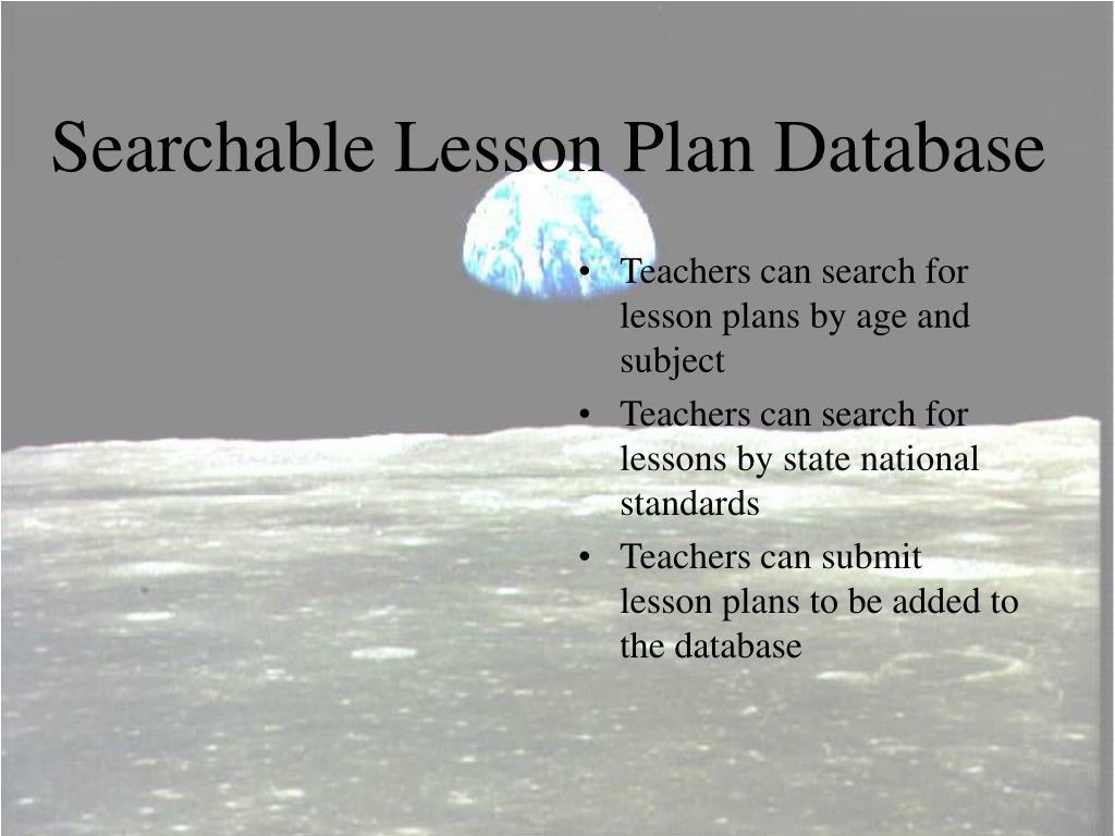 Searchable Lesson Plan Database