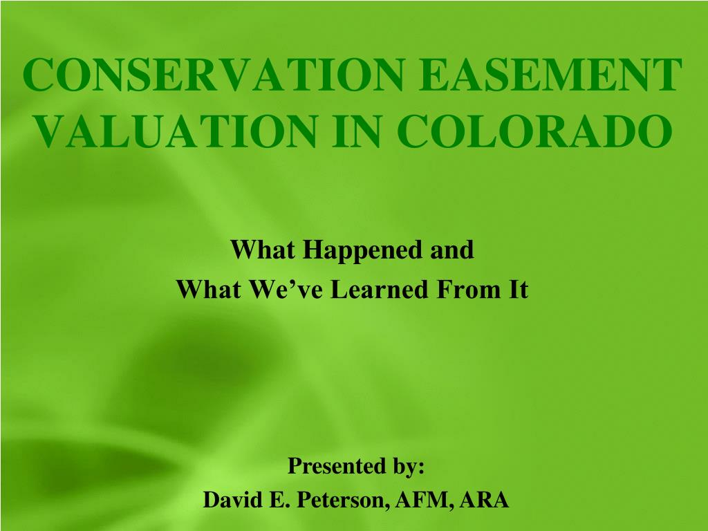 conservation easement valuation in colorado l.
