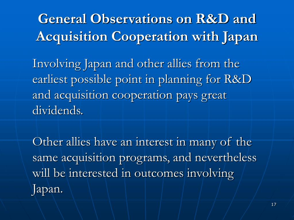 General Observations on R&D and Acquisition Cooperation with Japan