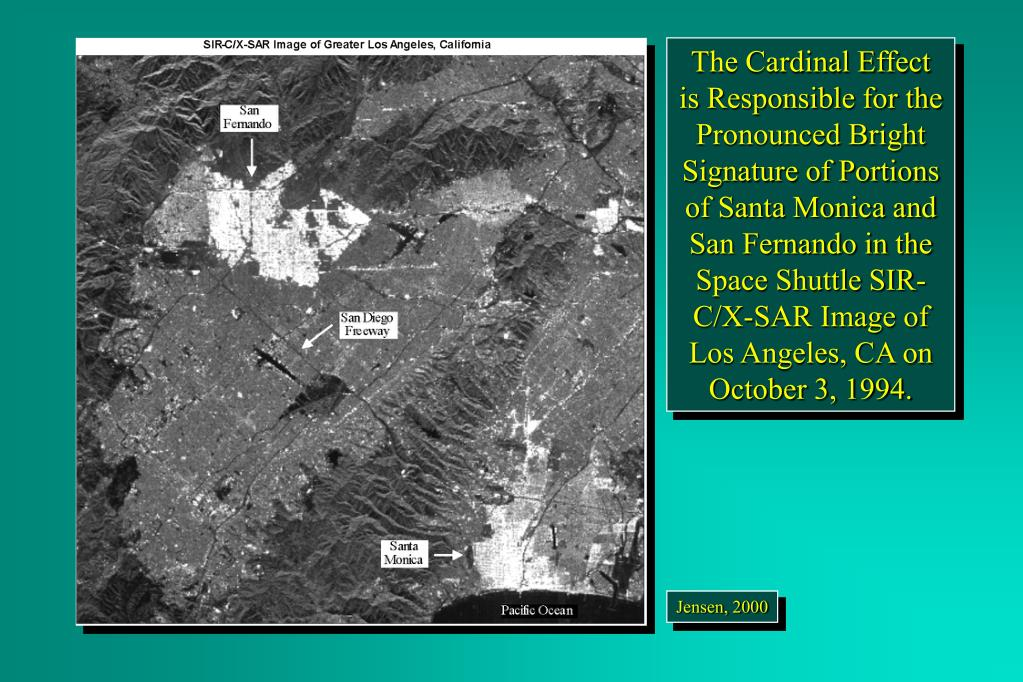 The Cardinal Effect  is Responsible for the Pronounced Bright Signature of Portions of Santa Monica and San Fernando in the Space Shuttle SIR-C/X-SAR Image of Los Angeles, CA on October 3, 1994.