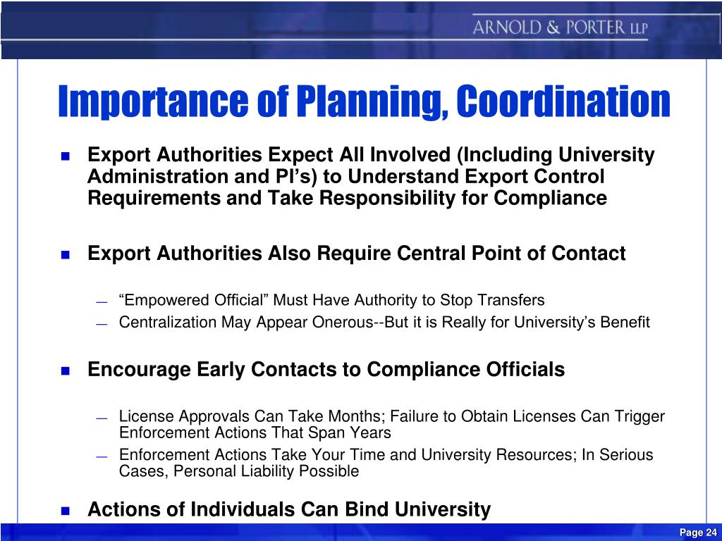 Importance of Planning, Coordination