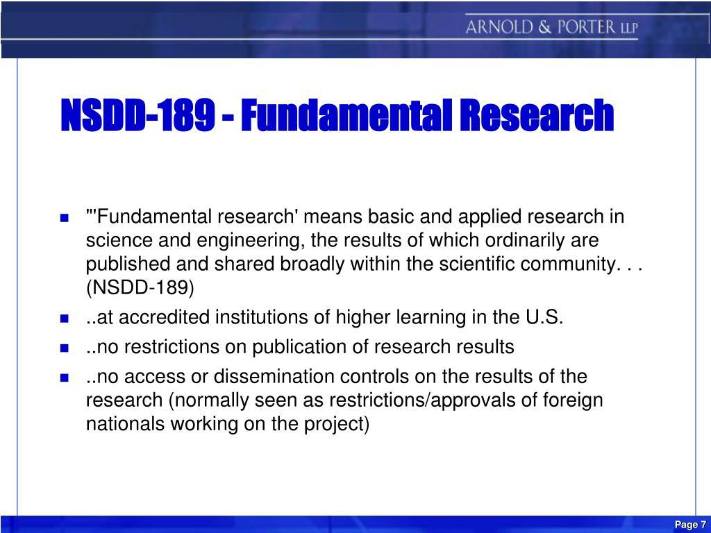 NSDD-189 - Fundamental Research